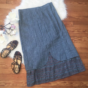 FLAX 100% Linen Skirt Layered
